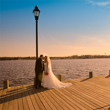 Atlantis Ballroom - Bride and Groom on dock