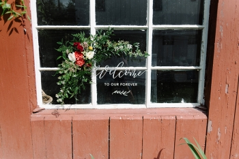 Custom hand lettered Lace and Belle acrylic sign, NKB Photography