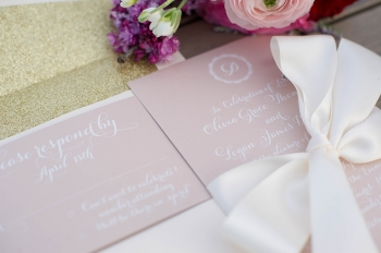 Custom Lace and Belle wedding invitation, LeAnna Theresa Photography
