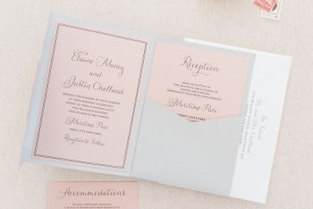 Grey and blush pocket fold wedding invitations