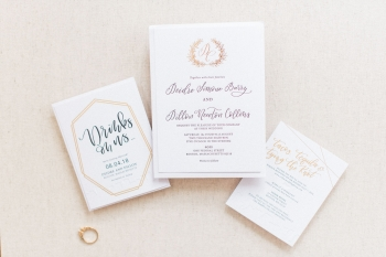 Calligraphy gold foil and blind letterpress invitation suite